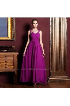 A-Line Beaded Long Purple Chiffon Prom Evening Formal Dresses ED011319