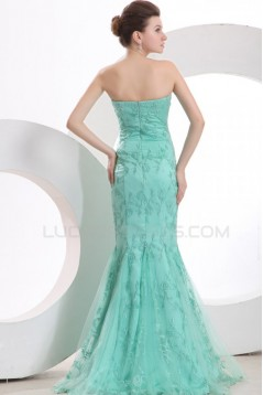 Trumpet/Mermaid Long Blue Prom Evening Formal Party Dresses ED010132
