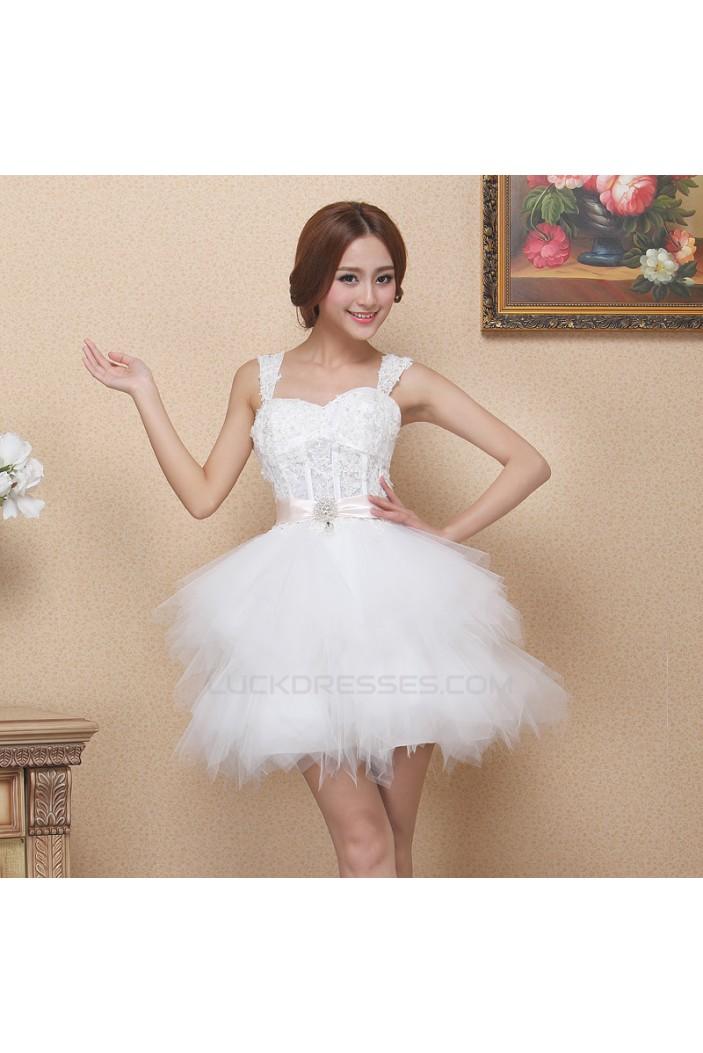 Short/Mini Straps Beaded White Prom Evening Formal Dresses ED011321
