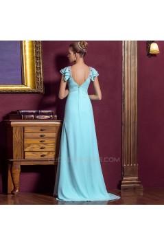A-Line V-Neck Beaded Cap-Sleeve Long Blue Chiffon Prom Evening Formal Dresses ED011323
