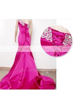 Trumpet/Mermaid One-Shoulder Beaded Long Prom Evening Formal Dresses ED011324