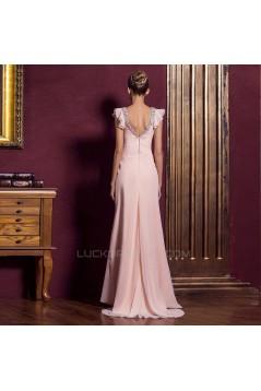 Sheath/Column V-Neck Beaded Long Pink Chiffon Prom Evening Formal Dresses ED011325
