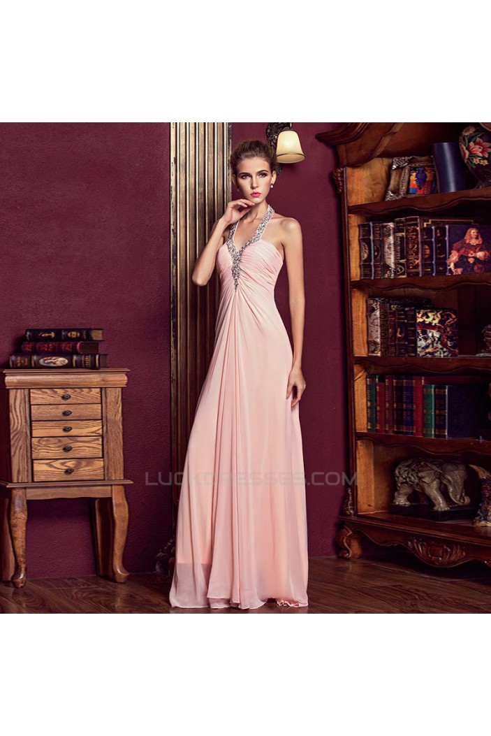 Empire Halter Beaded Long Pink Chiffon Prom Evening Maternity Evening Dresses ED011327