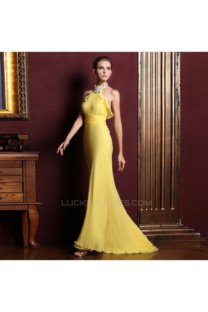 Trumpet/Mermaid Halter Beaded Long Yellow Chiffon Prom Evening Formal Dresses ED011328