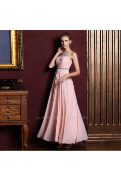 A-Line Beaded Long Chiffon Prom Evening Formal Dresses ED011329