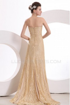 Trumpet/Mermaid Strapless Long Gold Lace Prom Evening Formal Party Dresses ED010133