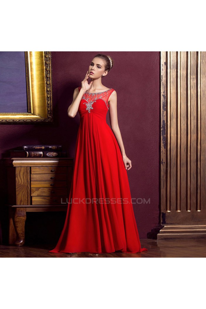 Empire Beaded Long Red Chiffon Prom Evening Maternity Evening Dresses ED011331