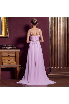 Empire Spaghetti Strap Beaded Long Chiffon Prom Evening Formal Dresses ED011333