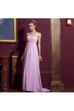 Empire Spaghetti Strap Beaded Long Chiffon Prom Evening Formal Dresses ED011333