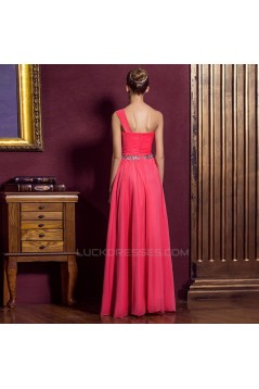 A-Line One-Shoulder Beaded Long Prom Evening Formal Dresses ED011335