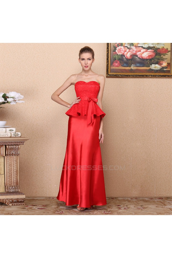 Trumpet/Mermaid Sweetheart Lace and Satin Long Red Prom Evening Formal Dresses ED011336