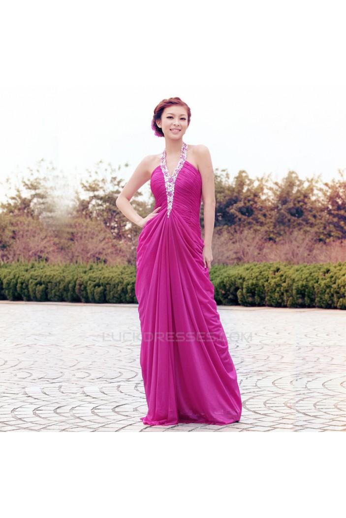 Sheath/Column Halter Beaded Long Chiffon Prom Evening Formal Dresses ED011337