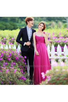 A-Line Beaded Long Chiffon Prom Evening Formal Dresses ED011341