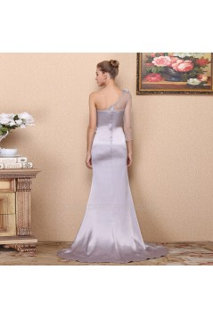 Trumpet/Mermaid One-Shoulder-Sleeve Beaded Long Prom Evening Formal Dresses ED011343