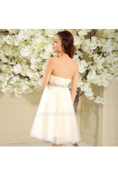 A-Line Strapless Beaded Short Prom Evening Formal Dresses ED011344