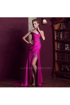 Sheath One-Shoulder Beaded Long Prom Evening Formal Dresses ED011345