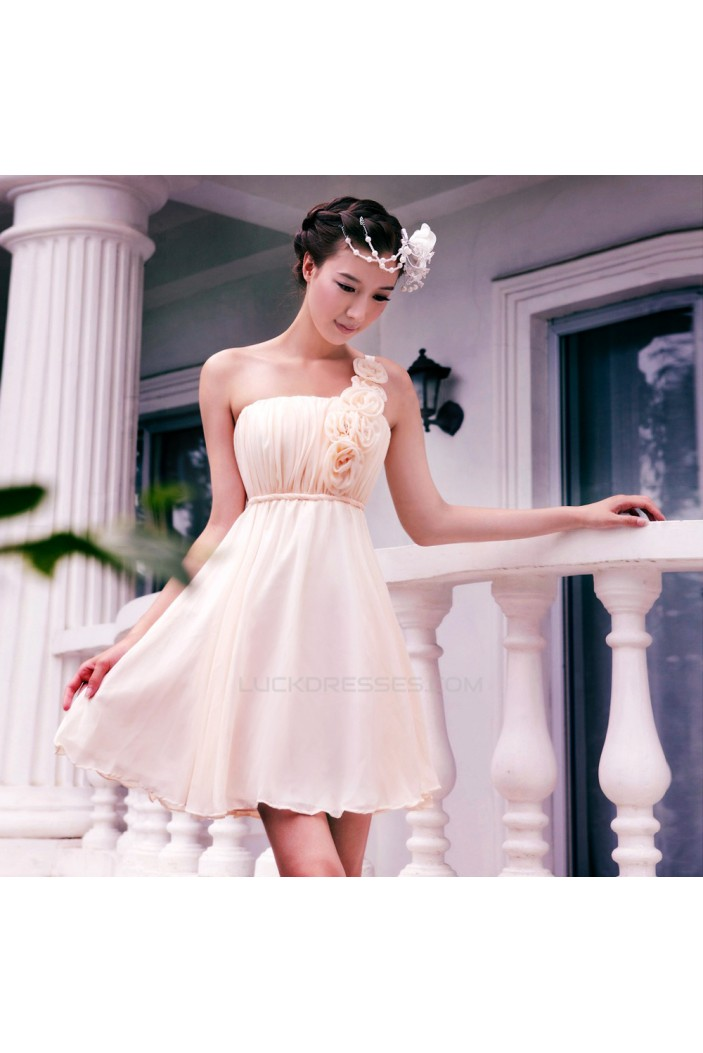 A-Line One-Shoulder Short Chiffon Prom Evening Formal Dresses ED011347