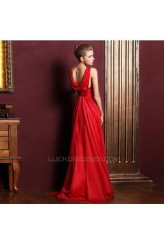 Sheath/Column V-Neck Beaded Long Chiffon Prom Evening Formal Dresses ED011348