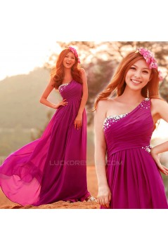A-Line One-Shoulder Beaded Long Chiffon Prom Evening Formal Dresses ED011349