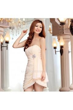 Short/Mini Strapless Chiffon Beaded Prom Evening Formal Dresses ED011352