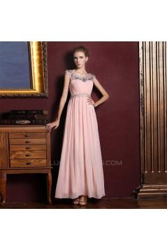 A-Line Beaded Long Pink Chiffon Prom Evening Formal Dresses ED011354