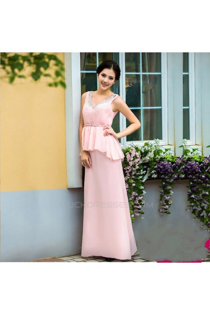 Affordable V-Neck Long Pink Beaded Chiffon Prom Evening Formal Dresses ED011355