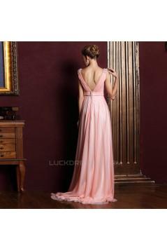 A-Line Beaded Long Pink Chiffon Prom Evening Formal Dresses ED011356