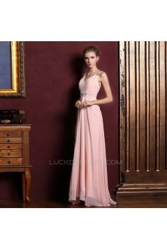 A-Line V-Neck Beaded Long Pink Chiffon Prom Evening Formal Dresses ED011357