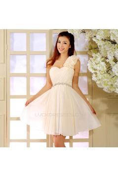 A-Line One-Shoulder Beaded Short Chiffon Prom Evening Formal Dresses ED011359