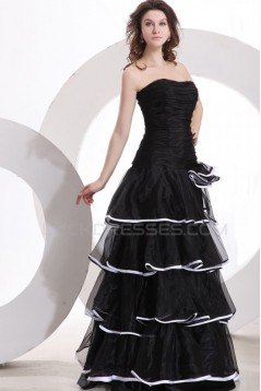 A-Line Strapless Long Black Prom Evening Formal Party Dresses ED010136