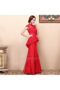 Trumpet/Mermaid High-Neck Cap-Sleeve Long Red Prom Evening Formal Dresses ED011360