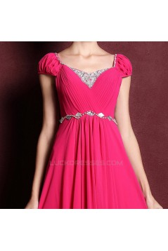 A-Line Cap-Sleeve Beaded Long Chiffon Prom Evening Formal Dresses ED011361
