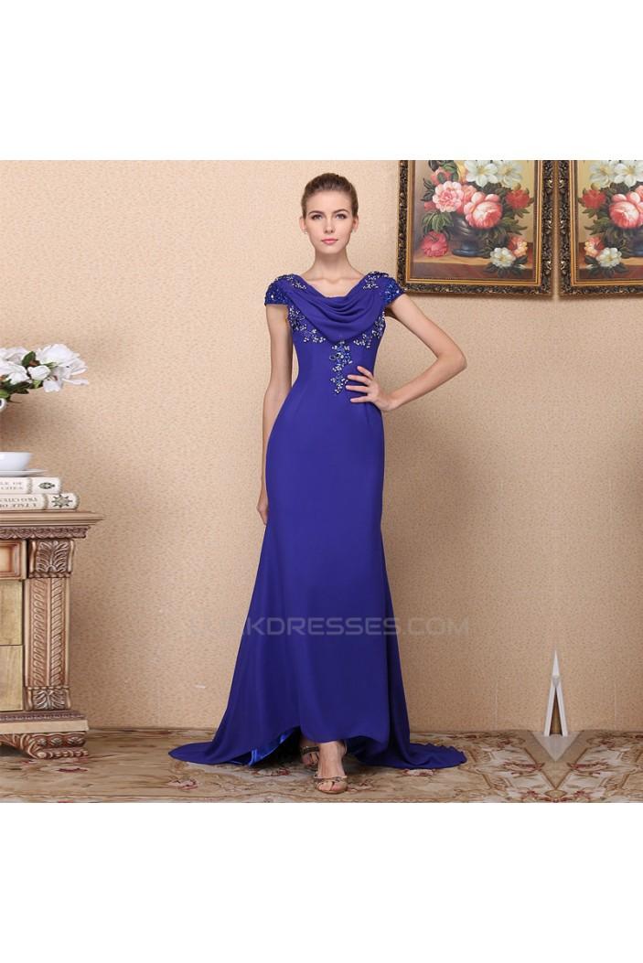 Trumpet/Mermaid Beaded Long Blue Chiffon Prom Evening Formal Dresses ED011362