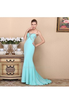 Trumpet/Mermaid Strapless Beaded Long Blue Chiffon Prom Evening Formal Dresses ED011363