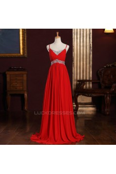 Empire Spaghetti Strap Beaded Long Chiffon Prom Evening Maternity Evening Dresses ED011364