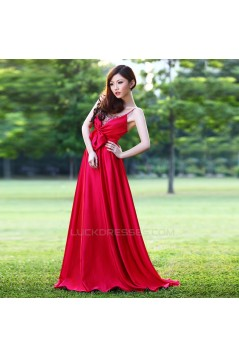 A-Line Spaghetti Strap Beaded Long Red Prom Evening Maternity Evening Dresses ED011365