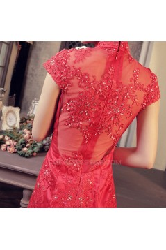 Trumpet/Mermaid High-Neck Beaded Appliques Long Red Prom Evening Formal Dresses ED011368