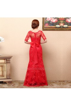 Trumpet/Mermaid Half Sleeve Long Red Prom Evening Formal Dresses ED011369
