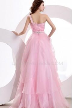 Long Pink One-Shoulder Prom Evening Formal Party Dresses ED010137