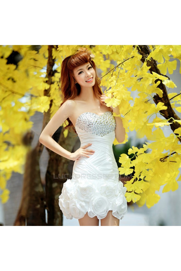 Short/Mini Beaded White Prom Evening Formal Cocktail Dresses ED011372