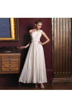 A-Line One-Shoulder Long Chiffon Prom Evening Formal Dresses ED011374