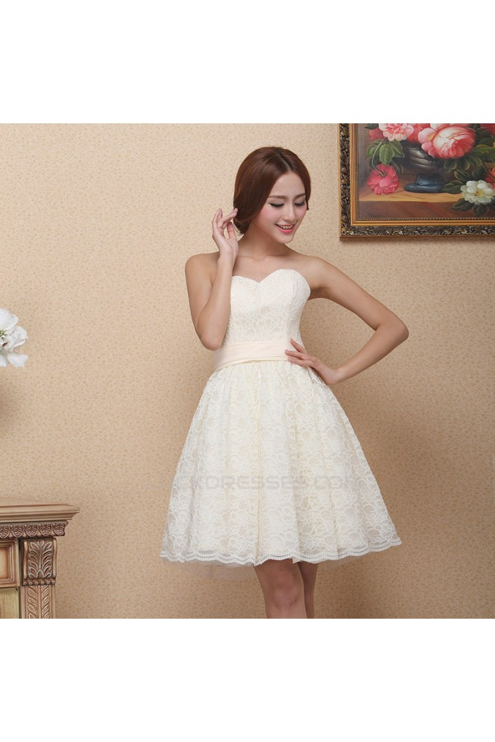 A-Line Sweetheart Short Lace Prom Evening Bridesmaid Dresses ED011375