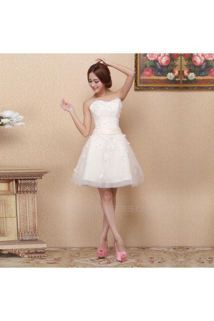 A-Line Strapless Short White Prom Evening Formal Bridesmaid Dresses ED011377