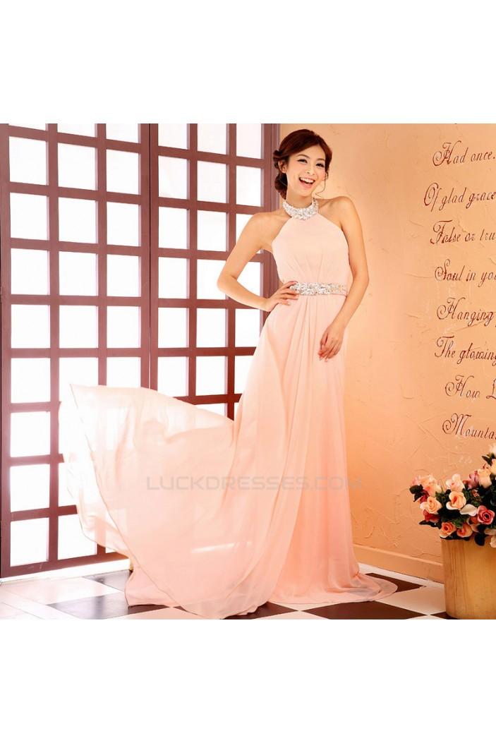 A-Line Halter Beaded Long Chiffon Prom Evening Formal Dresses ED011378