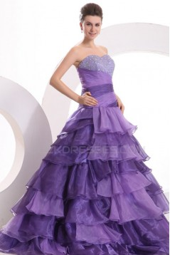 Ball Gown Sweetheart Beaded Long Purple Prom Evening Formal Party Dresses ED010138