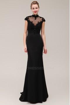 Trumpet/Mermaid High-Neck Cap-Sleeve Beaded Applique Long Black Prom Evening Formal Dresses ED011380