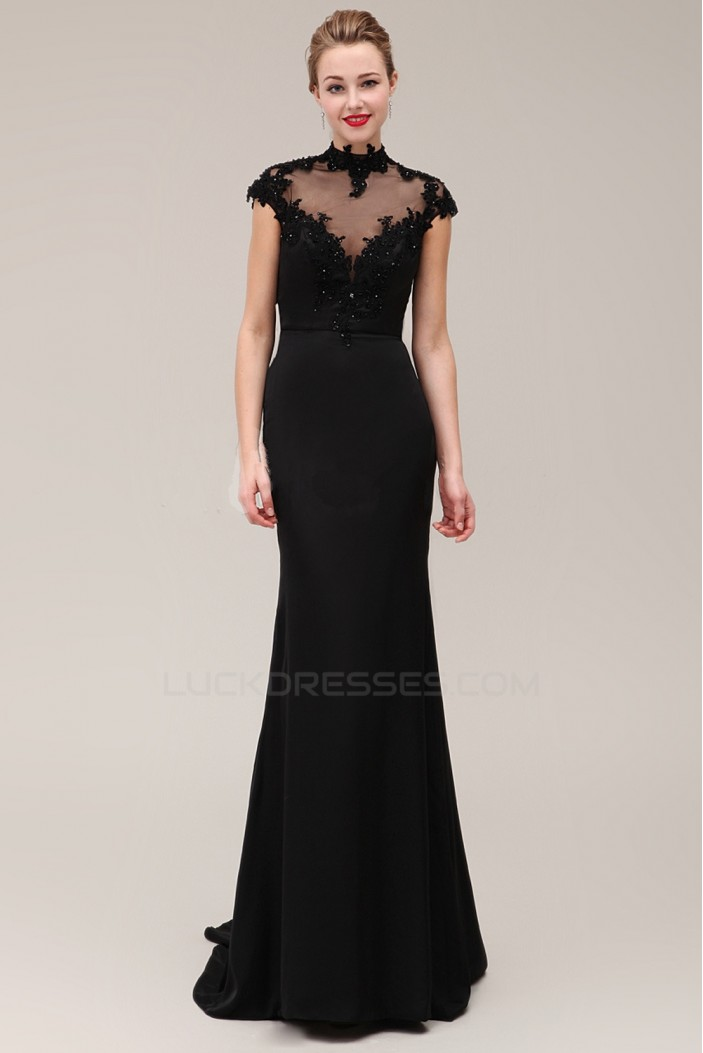 Trumpet/Mermaid High-Neck Cap-Sleeve Beaded Applique Long Black Prom Evening Formal Dresses ED011380