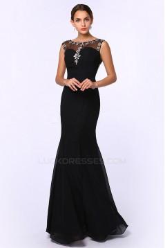 Trumpet/Mermaid Beaded Long Black Chiffon Prom Evening Formal Dresses ED011382