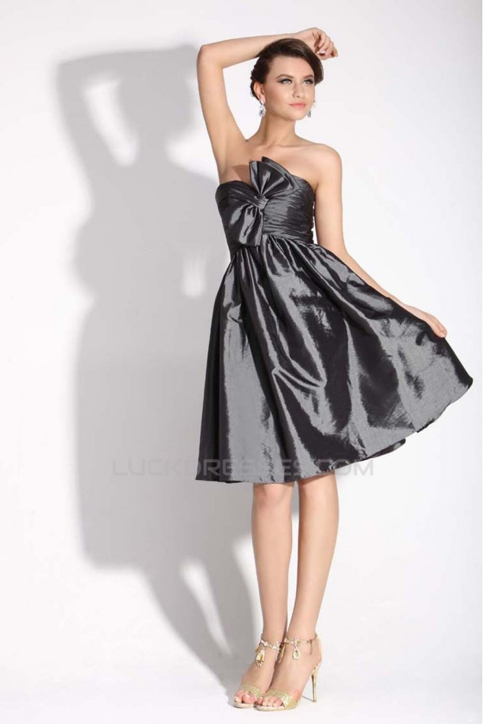 A-Line Sweetheart Short Black Taffeta Prom Evening Bridesmaid Dresses ED011383