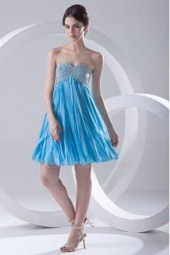 A-Line Sweetheart Beaded Short Blue Chiffon Prom Evening Bridesmaid Dresses ED011384